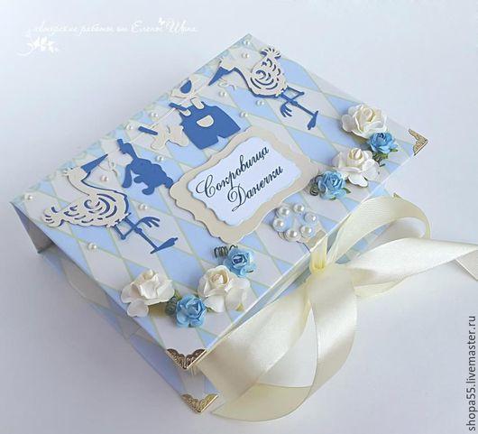 """Подарки для новорожденных, ручной работы. Ярмарка Мастеров - ручная работа. Купить Мамины сокровища """"Аисты"""". Handmade. Мамины сокровища, голубой"""