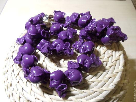 """Для украшений ручной работы. Ярмарка Мастеров - ручная работа. Купить Бусины """"Фиолетовые слоны"""" из синтетического коралла. Handmade. слоны"""