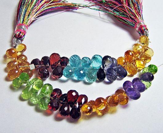 Для украшений ручной работы. Ярмарка Мастеров - ручная работа. Купить Капли бриолеты 6-7х4,5мм разных натуральных камней. Handmade.
