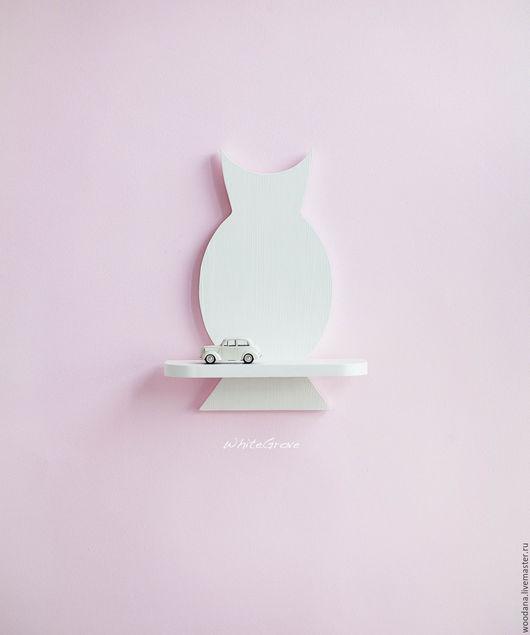 """Детская ручной работы. Ярмарка Мастеров - ручная работа. Купить Деревянная полочка """"Сова"""". Handmade. Белый, сова, декор стен"""