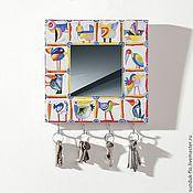 Для дома и интерьера handmade. Livemaster - original item Wall key holder with mirror multi-Colored birds. Handmade.
