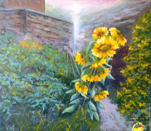 """Пейзаж ручной работы. Ярмарка Мастеров - ручная работа. Купить Картина """"Солнечные цветы"""" акрил+масло 50х60см. Handmade. Картина, цветы"""