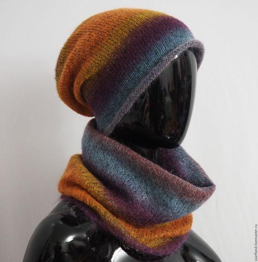 Шарфы и шарфики ручной работы. Ярмарка Мастеров - ручная работа. Купить Шапка-бини из мохера на шелке. Handmade. Снуд вязаный