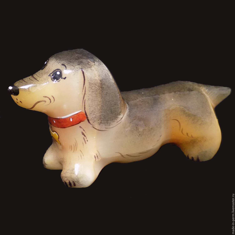 Собака Такса - фигурка из камня Селенит, Статуэтки, Орда,  Фото №1