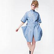 Одежда ручной работы. Ярмарка Мастеров - ручная работа Платье рубашка Голубой опал. Handmade.