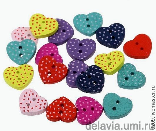 Шитье ручной работы. Ярмарка Мастеров - ручная работа. Купить пуговицы деревянные сердечки 15/13 мм. Handmade. Разноцветный