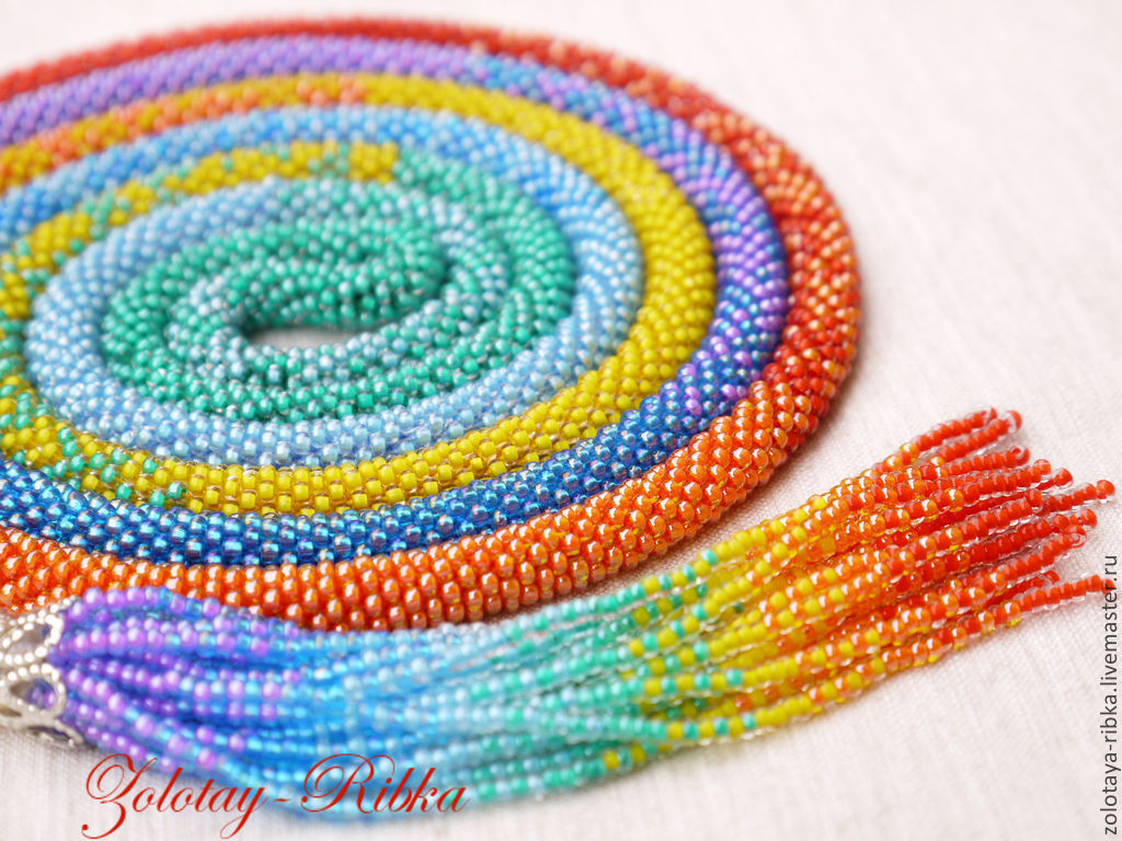 Handmade jewelry. Rainbow Lariat - harness bead. Jewelry from Gold fish. Fair masters