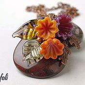 Pendants handmade. Livemaster - original item Pendant Jasper with flowers. Handmade.