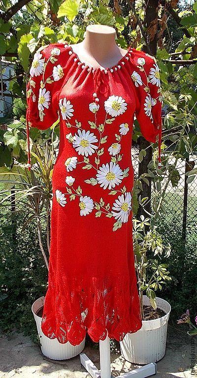 """Платья ручной работы. Ярмарка Мастеров - ручная работа. Купить Платье вязаное: """"Лето красное"""". Handmade. Акрил"""