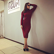 Одежда handmade. Livemaster - original item Burgundy knitted dress for autumn. Handmade.
