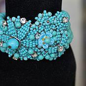 Украшения handmade. Livemaster - original item Bracelet of beads and rhinestones Turquoise. Handmade.