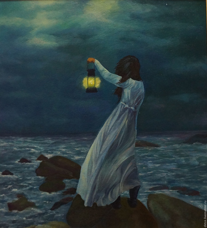 """Пейзаж ручной работы. Ярмарка Мастеров - ручная работа. Купить Картина """"Ожидание"""". Handmade. Море, девушка, тёмно-синий"""