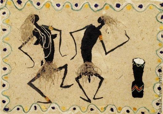"""Этно ручной работы. Ярмарка Мастеров - ручная работа. Купить Картина """"Папуа"""". Handmade. Бежевый, аборигены, бамбуковая рамка"""