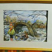 """Картины и панно ручной работы. Ярмарка Мастеров - ручная работа """"Переправа в детство"""". Handmade."""