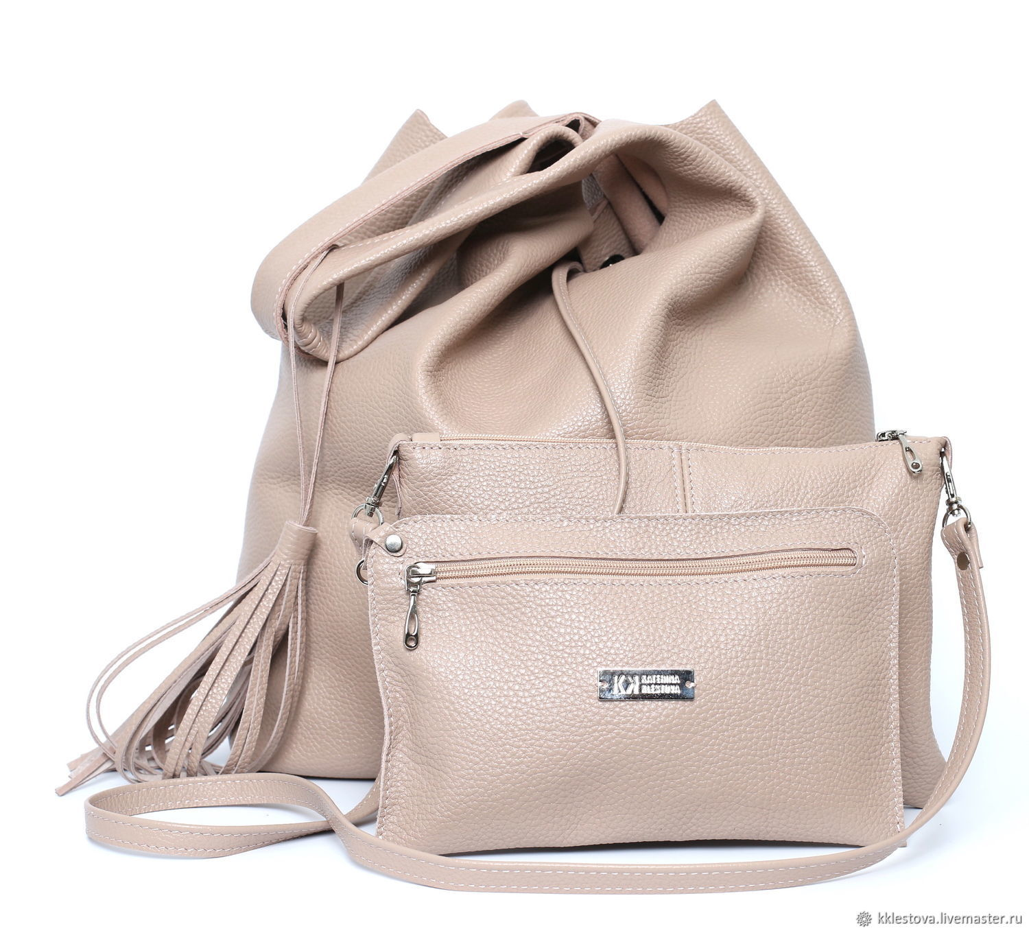 Bag Genuine Leather bag with cosmetic bag Accessories Set, Sacks, Moscow,  Фото №1