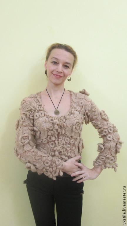 Пиджаки, жакеты ручной работы. Ярмарка Мастеров - ручная работа. Купить Жакет Блейтин (Цветок). Handmade. Однотонный, Вязание крючком