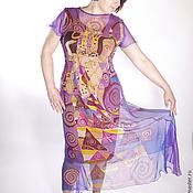 Одежда ручной работы. Ярмарка Мастеров - ручная работа Платье шифоновое по мотивам Ожидание Климт двухслойное. Handmade.
