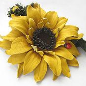 Украшения handmade. Livemaster - original item The colors of the skin.Decoration brooch pin YELLOW SUNFLOWER.. Handmade.