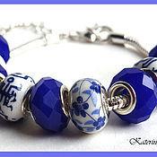 Украшения ручной работы. Ярмарка Мастеров - ручная работа Браслет в стиле Пандора (синий в цветочек). Handmade.
