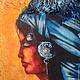 """Этно ручной работы. Ярмарка Мастеров - ручная работа. Купить """"ИНДИАНКА"""" терра. Handmade. Картина, панно на стену, индеец, синий"""