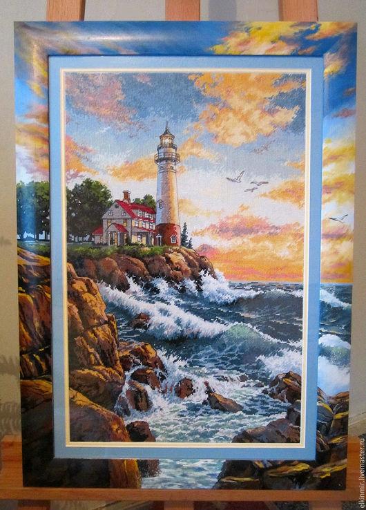 """Пейзаж ручной работы. Ярмарка Мастеров - ручная работа. Купить Картина вышитая крестом """"Маяк"""". Handmade. Разноцветный, море картина"""