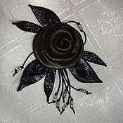 """Украшения ручной работы. Ярмарка Мастеров - ручная работа Брошь из кожи """"Чёрная роза"""". Handmade."""