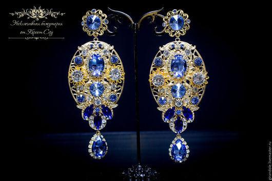 """Серьги ручной работы. Ярмарка Мастеров - ручная работа. Купить Серьги длинные """"Голубой карбункул» в стиле D & G золото. Handmade."""