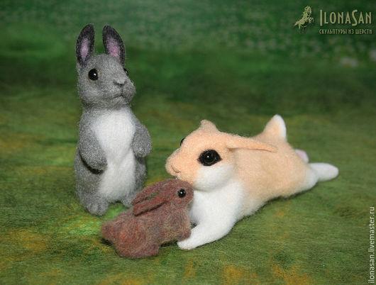 Игрушки животные, ручной работы. Ярмарка Мастеров - ручная работа. Купить Зайцы-кролики (сухое валяние). Handmade. Серый зайка