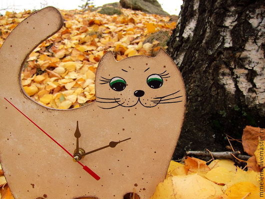 """Часы для дома ручной работы. Ярмарка Мастеров - ручная работа. Купить Часы для детской """"Весёлый кот"""". Handmade. Бежевый, кошка"""