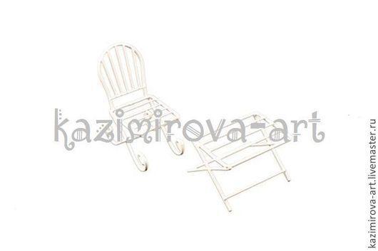Куклы и игрушки ручной работы. Ярмарка Мастеров - ручная работа. Купить Металлические чайный столик и кресло белые. Handmade. Разноцветный