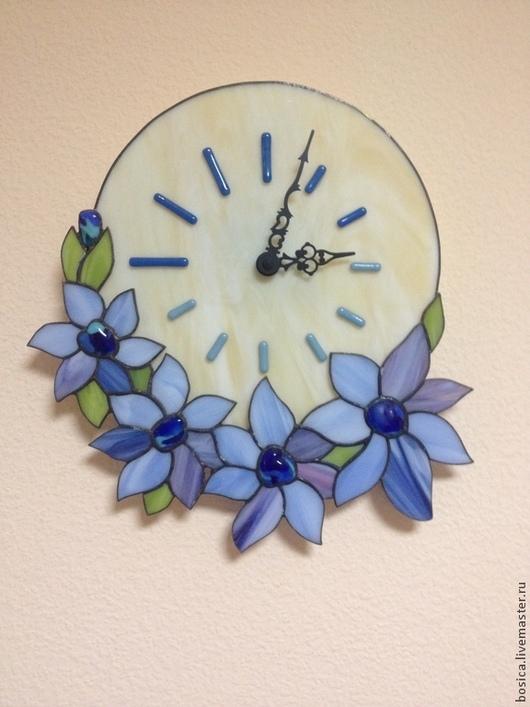 """Часы для дома ручной работы. Ярмарка Мастеров - ручная работа. Купить Часы тиффани """"Небесный букет"""". Handmade. Голубой, Фьюзинг"""