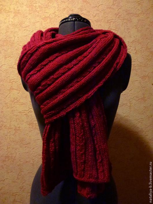 Шарфы и шарфики ручной работы. Ярмарка Мастеров - ручная работа. Купить шарф женский. Handmade. Бордовый, шарф вязаный