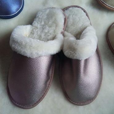 Обувь ручной работы. Ярмарка Мастеров - ручная работа Кожаные тапочки из мутона медно-розовый перламутр. Handmade.