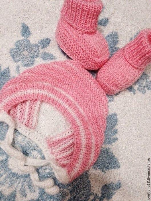 Для новорожденных, ручной работы. Ярмарка Мастеров - ручная работа. Купить Комплекты для новорожденных. Handmade. Новорожденным, шапочка, вязаный, на выписку