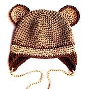 """Работы для детей, ручной работы. Ярмарка Мастеров - ручная работа Детская шапочка """"Мишка""""  (шапка зимняя теплая вязаная с ушками медведь. Handmade."""