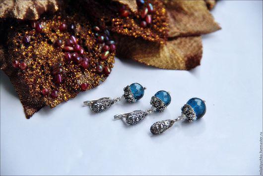 """Серьги ручной работы. Ярмарка Мастеров - ручная работа. Купить Серьги + подвеска """"Blue Lagoon"""" серебро , топазы London blue. Handmade."""