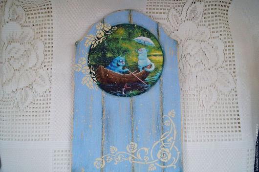 """Животные ручной работы. Ярмарка Мастеров - ручная работа. Купить Настенное панно """"Прогулка"""". Handmade. Голубой, панно для интерьера, шпатлёвка"""