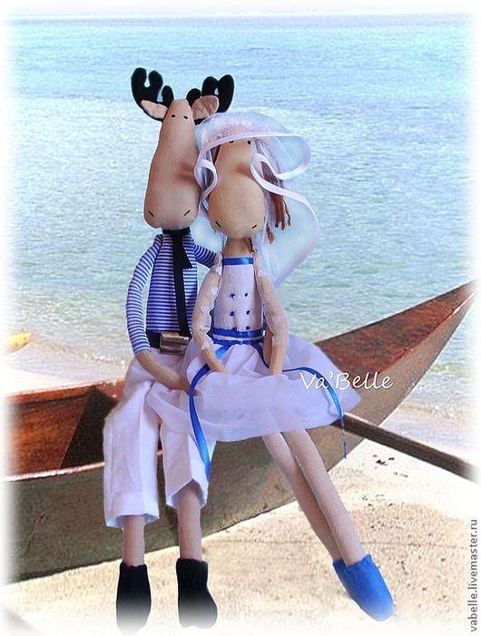 Куклы Тильды ручной работы. Ярмарка Мастеров - ручная работа. Купить Лосики - матросики свадебные. Handmade. Голубой, свадьба, полосатый