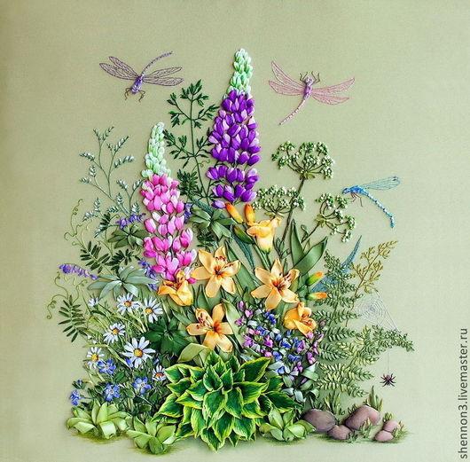 Картина `Летний полдень`. Вышивка лентами. Украшение интерьера. Ботанический стиль.