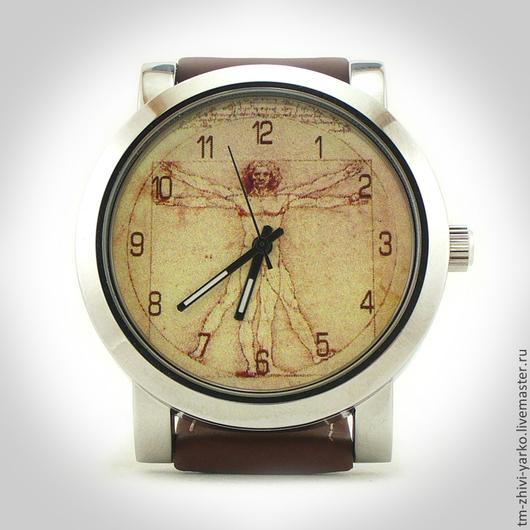 """Часы ручной работы. Ярмарка Мастеров - ручная работа. Купить Наручные часы """"Витрувианский человек"""".. Handmade. Часы, Живопись, анатомия"""