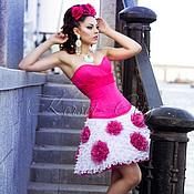 """Одежда ручной работы. Ярмарка Мастеров - ручная работа Белая юбка """"Любовный романс"""" с розами цвета фуксии. Handmade."""