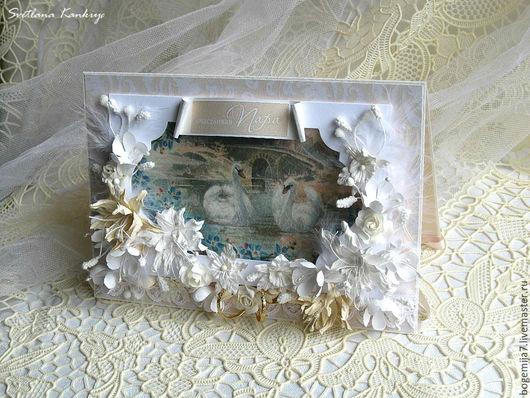 """Свадебные открытки ручной работы. Ярмарка Мастеров - ручная работа. Купить Свадебная открытка """"Лебеди"""" (белый). Handmade. Белый"""