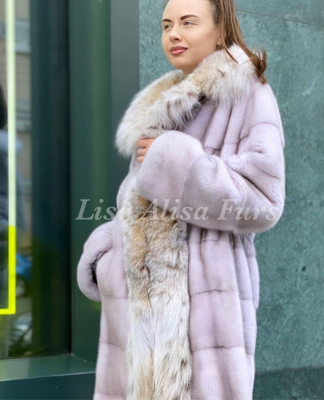 Норковое пальто с рысью «Танзанит», Шубы, Москва,  Фото №1