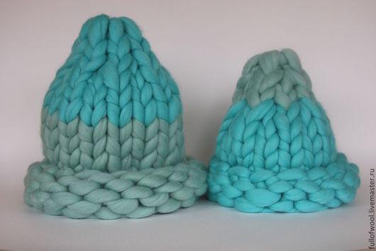 Шапки ручной работы. Ярмарка Мастеров - ручная работа. Купить Шапки для мамы и малыша крупной вязки из мериноса. Handmade. Голубой