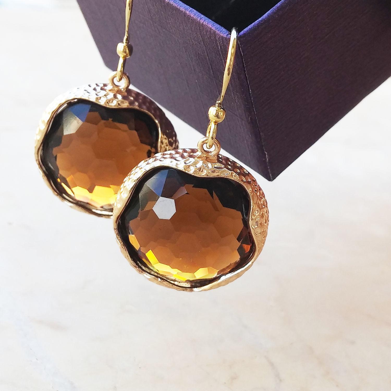 Round earrings with faux opal, Earrings, Netanya,  Фото №1
