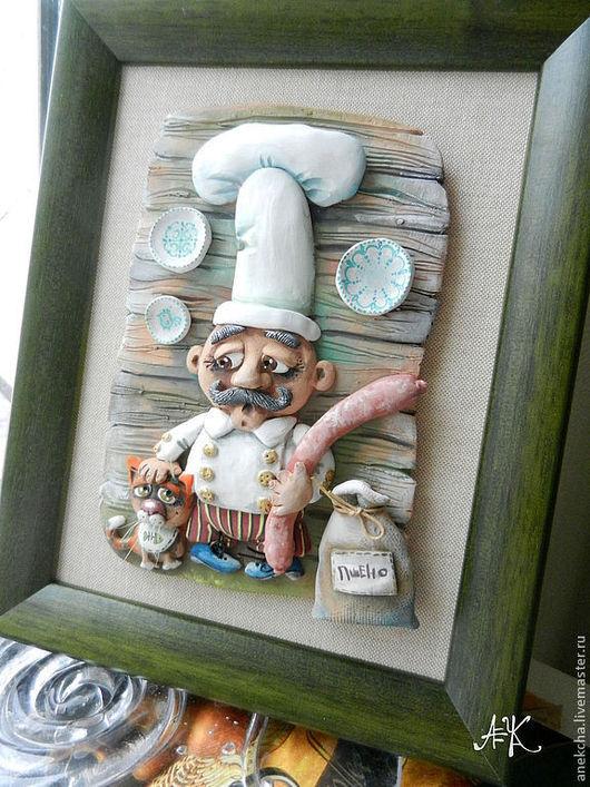 """Животные ручной работы. Ярмарка Мастеров - ручная работа. Купить Панно """"Колбаска"""". Handmade. Зеленый, кухня, глина, щетина"""