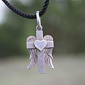 handmade. Livemaster - original item Pendant silver Winged cross. Handmade.