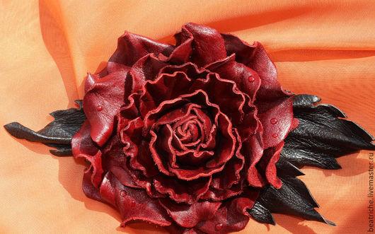 """Броши ручной работы. Ярмарка Мастеров - ручная работа. Купить Брошь """"Роза"""". Handmade. Бордовый, роза"""