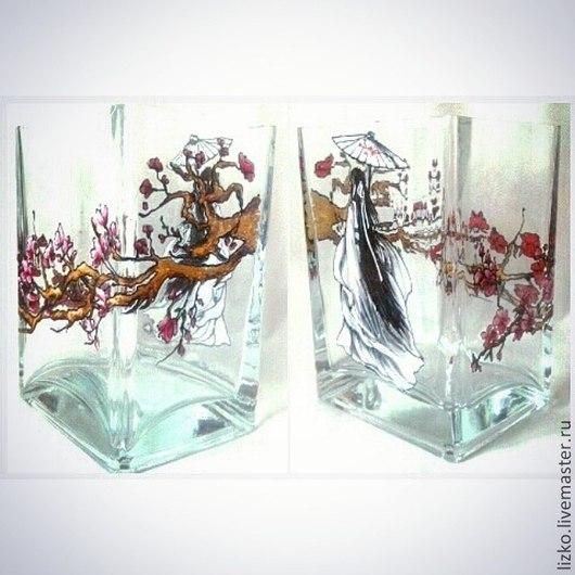 """Вазы ручной работы. Ярмарка Мастеров - ручная работа. Купить Ваза """"Японские мотивы"""". Handmade. Разноцветный, ваза с цветами"""