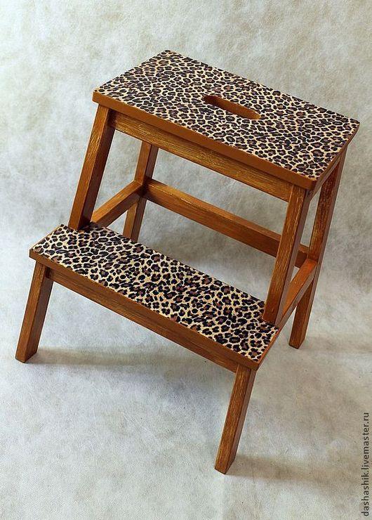 Мебель ручной работы. Ярмарка Мастеров - ручная работа. Купить Табурет-лестница леопард. Handmade. Коричневый, золото, африканский стиль